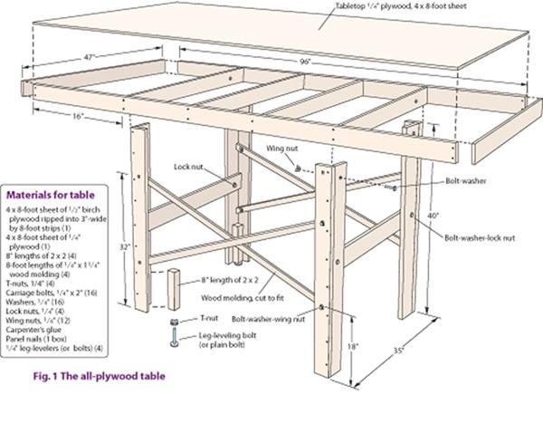 bouwtekening tafel steigerhout