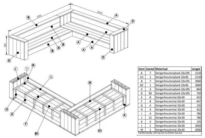 bouwtekening loungebank