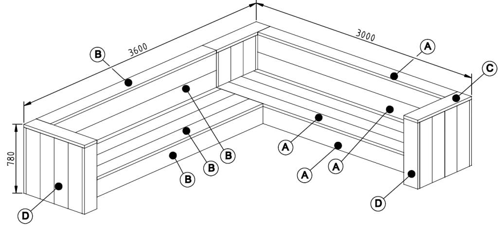 bouwtekening steigerhout hoekbank