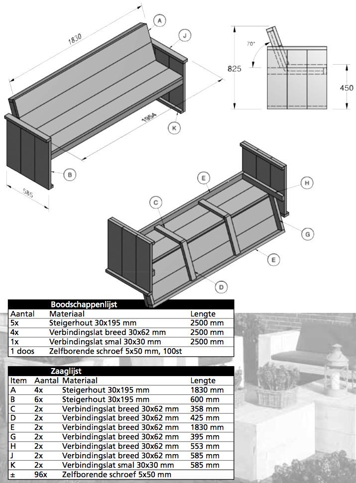 bouwtekening tuinbank steigerhout